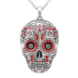 Jewelry - Muerte Roja Red Sugar Skull Necklace Crystals